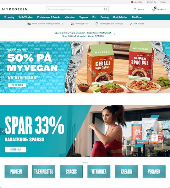 Screenshot af MyProtein hjemmeside