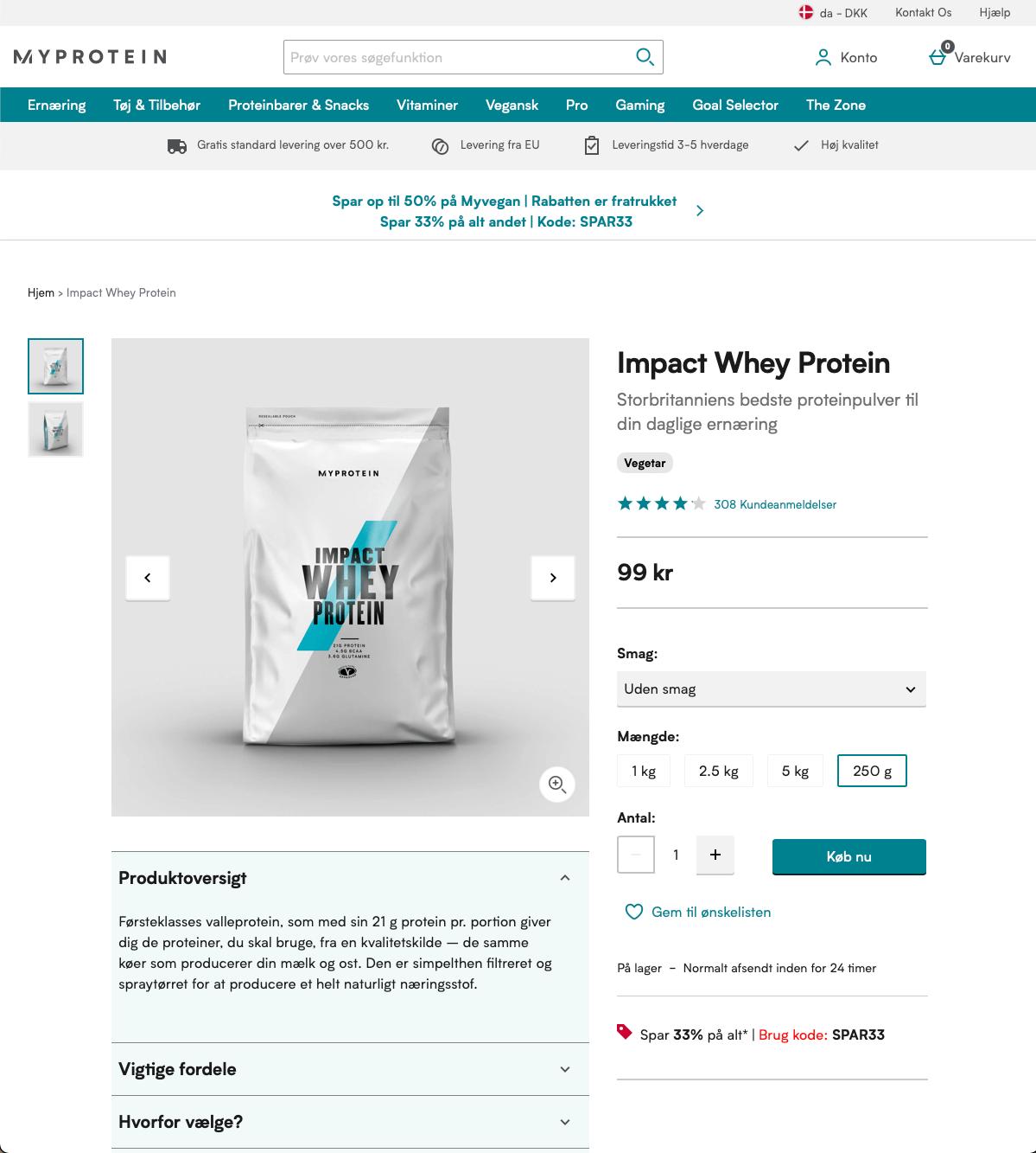 MyProtein produktside